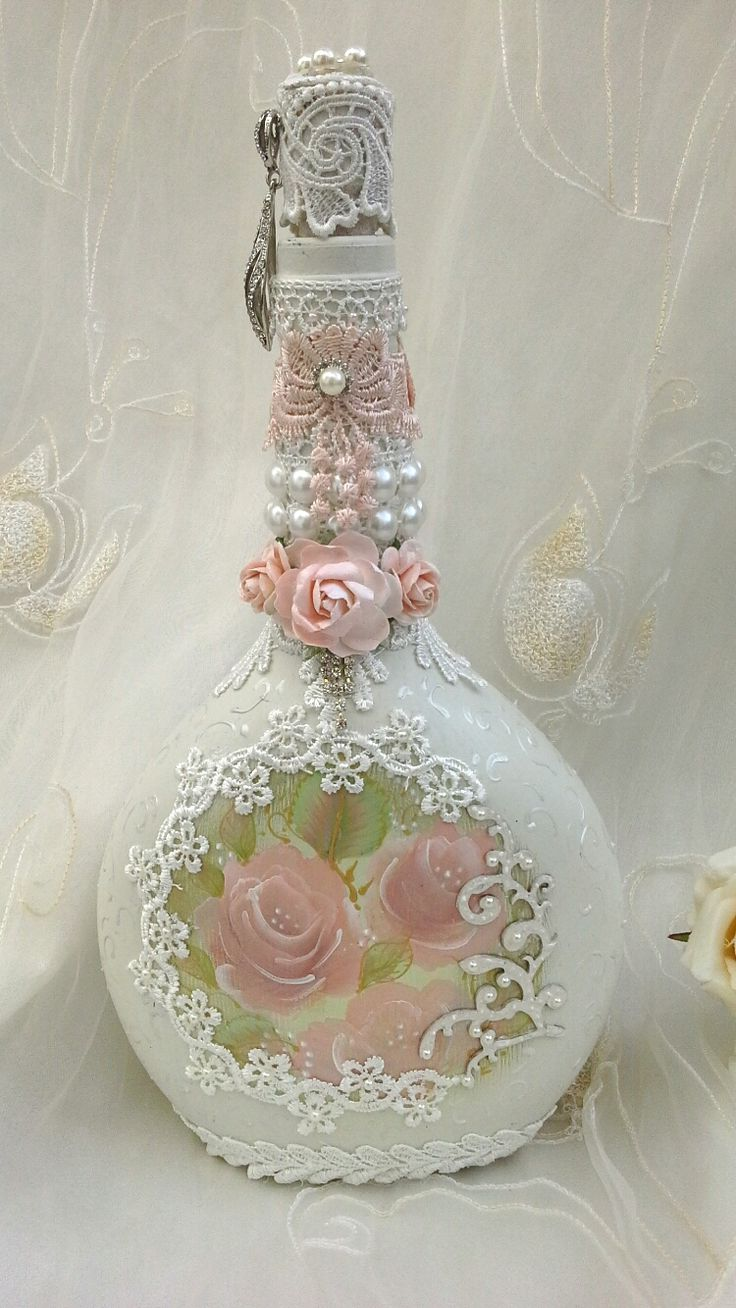Shabby chic bottle, altered bottle with hand painted roses, pretty lace, pearl d...
