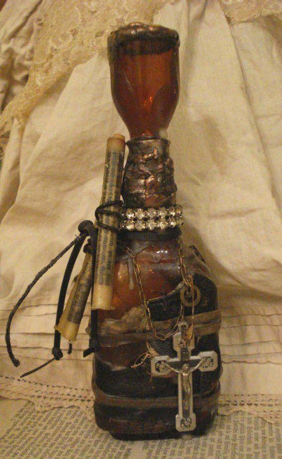 Decorative Bottles Vintage Altered Art Bottle Glass Cross Recycled Upcycled Decor
