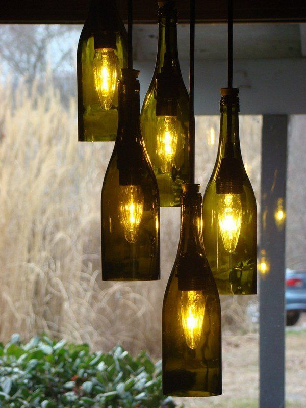 Decorative Bottles : Wine bottle chandelier –creative upcycling ...