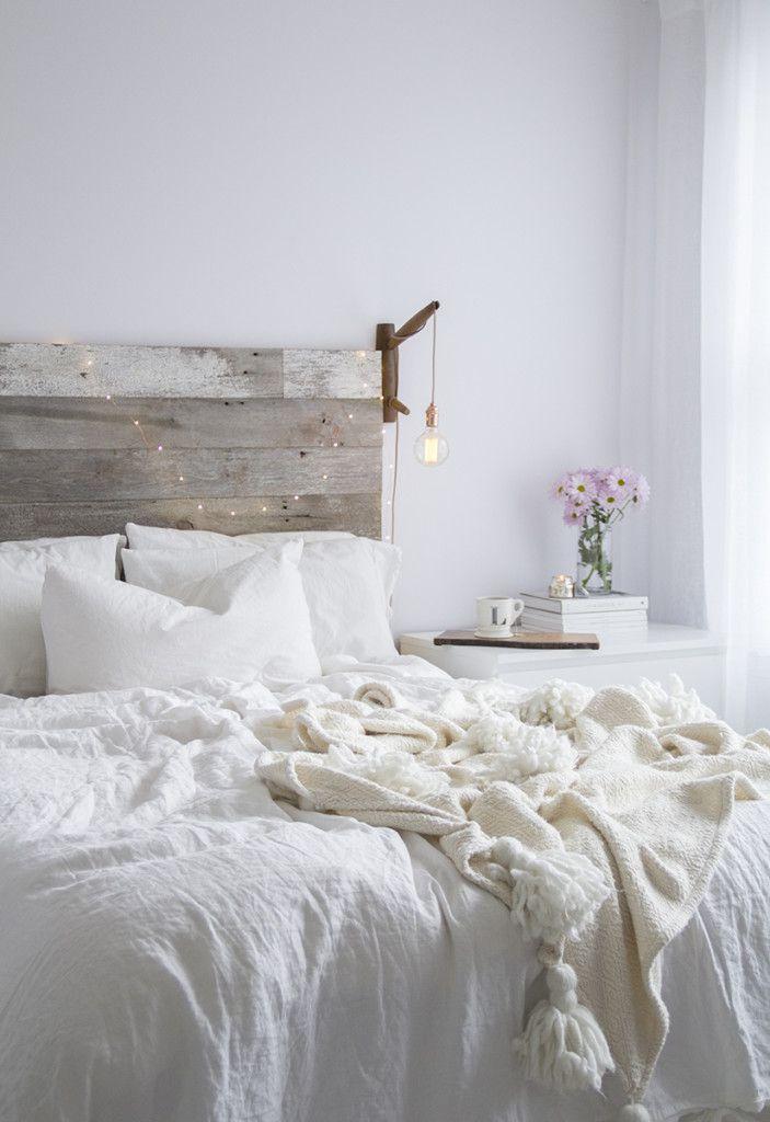 Furniture - Bedrooms : All white bedroom Rustic barnwood headboard ...