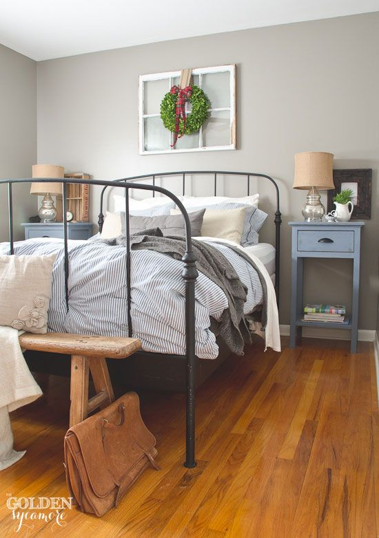 rustic bedroom daily interior design inspiration | Furniture - Bedrooms : Black iron Ikea bed frame in rustic ...
