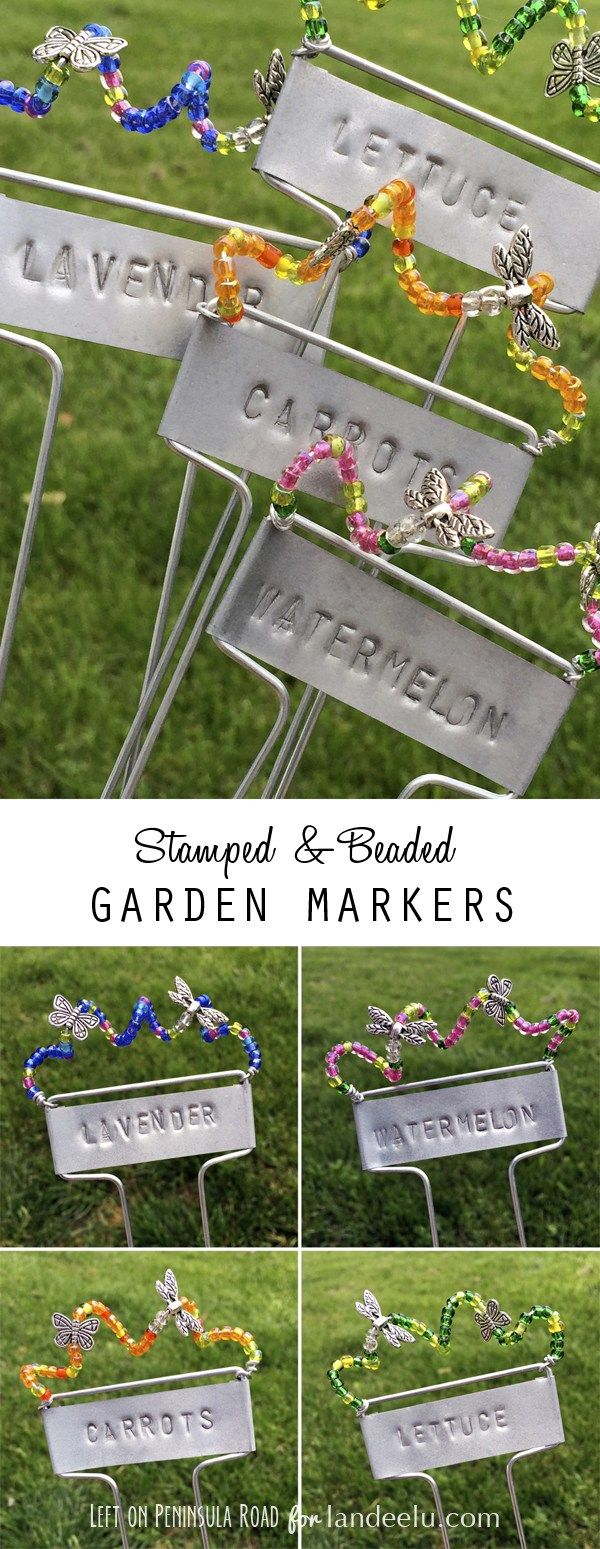 Stamped and Beaded Garden Markers collage from Left on Peninsula Road...