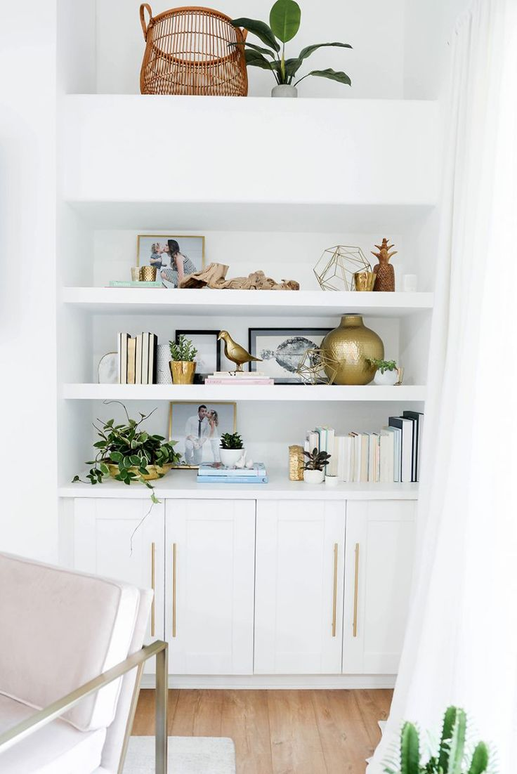 Home Decor Living Room White Shelving With Gold Sculptures Decor Object Your Daily