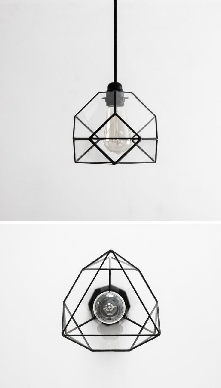This small black glass pendant light looks different geometrically from various ...