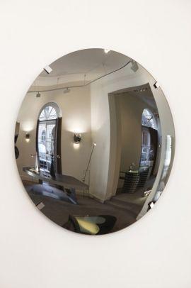 Exceptionnel miroir convexe de 130 cm de diamètre par Yonel Lebovici, pièce un...