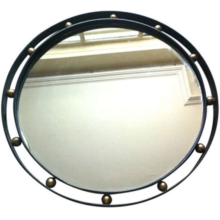 Jean Royere Rare and Documented Wrought Iron & Brass Mirror in Vintage Condi...