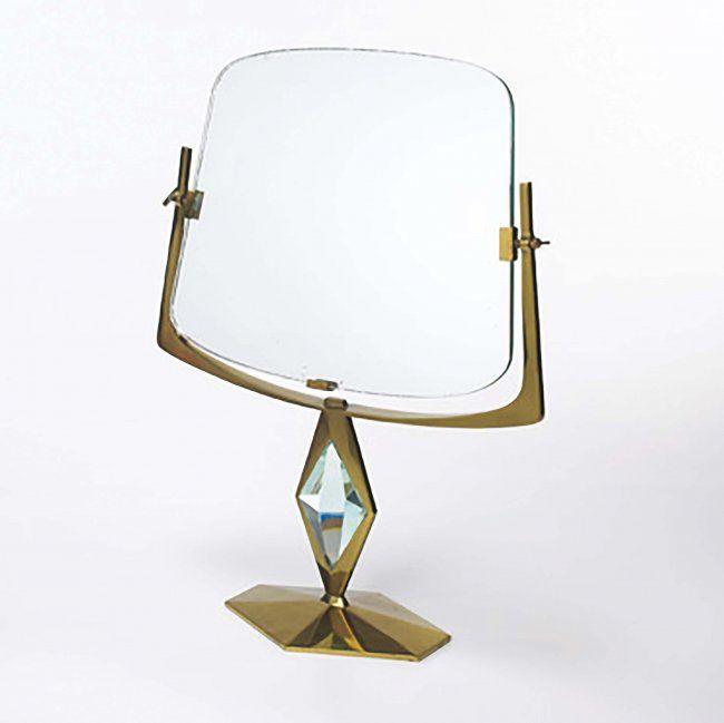 Rarissima specchiera Vanity in ottone, cristallo e vetro specchiato. Prod. Fonta...