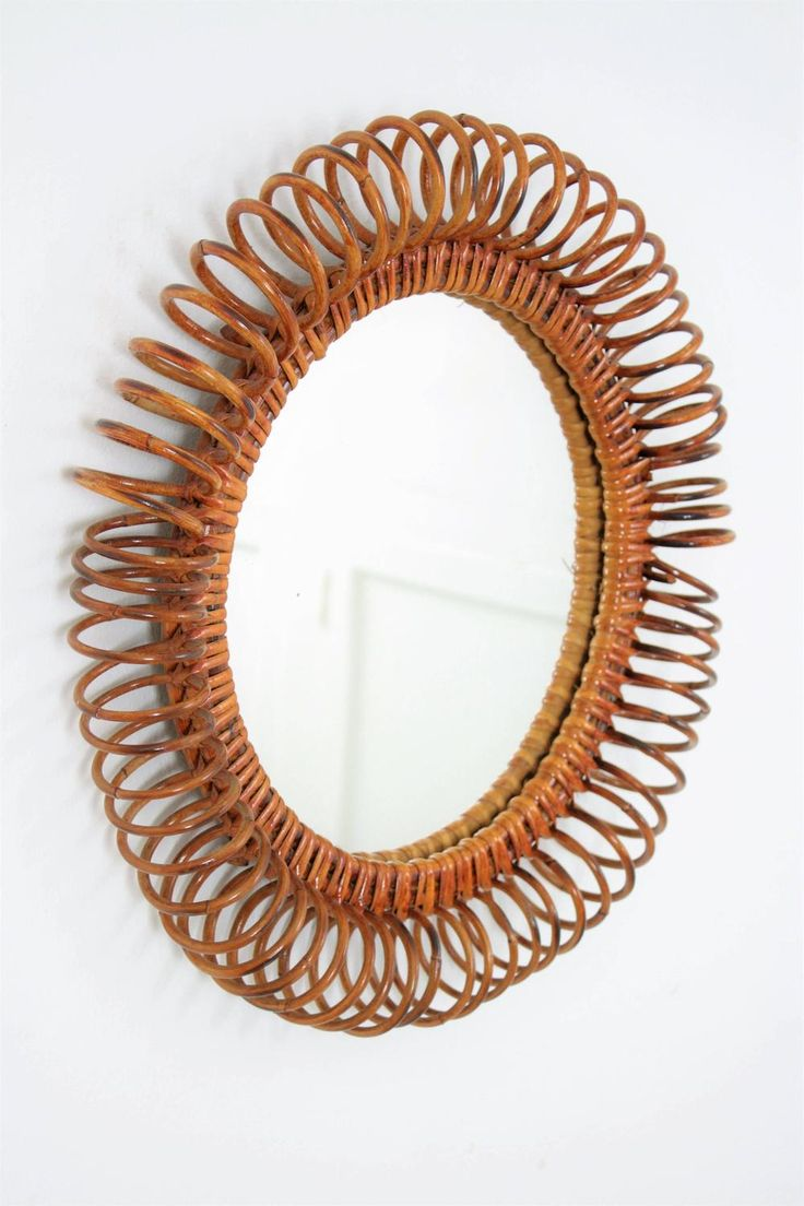 Spiral Rattan Circular Mirror in the Manner of Franco Albini | From a unique col...