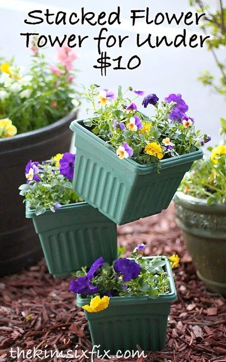 Build a Flower Tower out of Stacked Pots (For under $10)