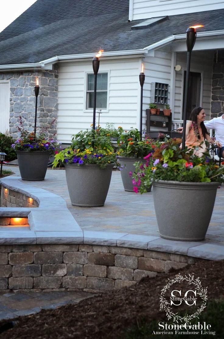 Freestanding Tiki Torch Planter Pots
