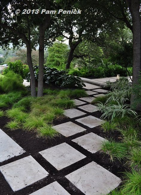 Half the lawn is gone in this elegant, contemporary garden by Sitio Design. I lo...