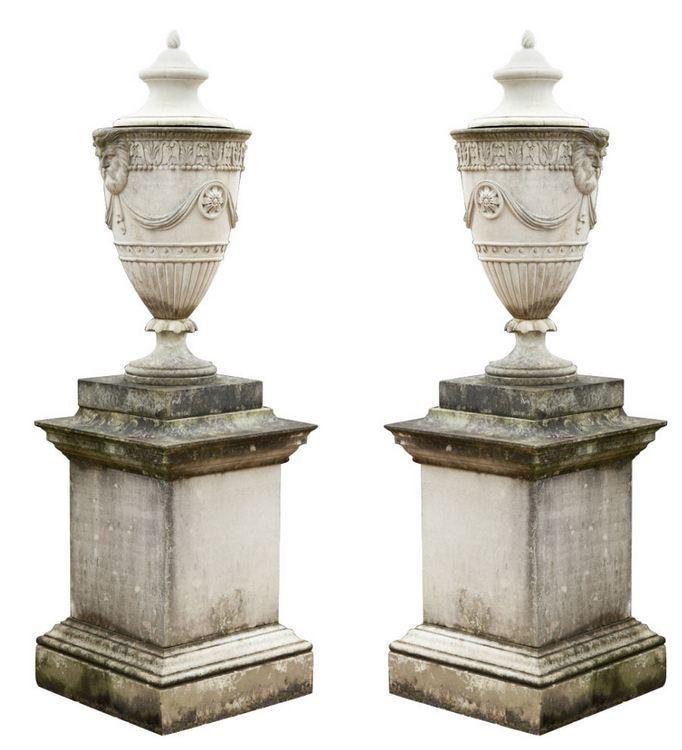 adam style lidded urns...