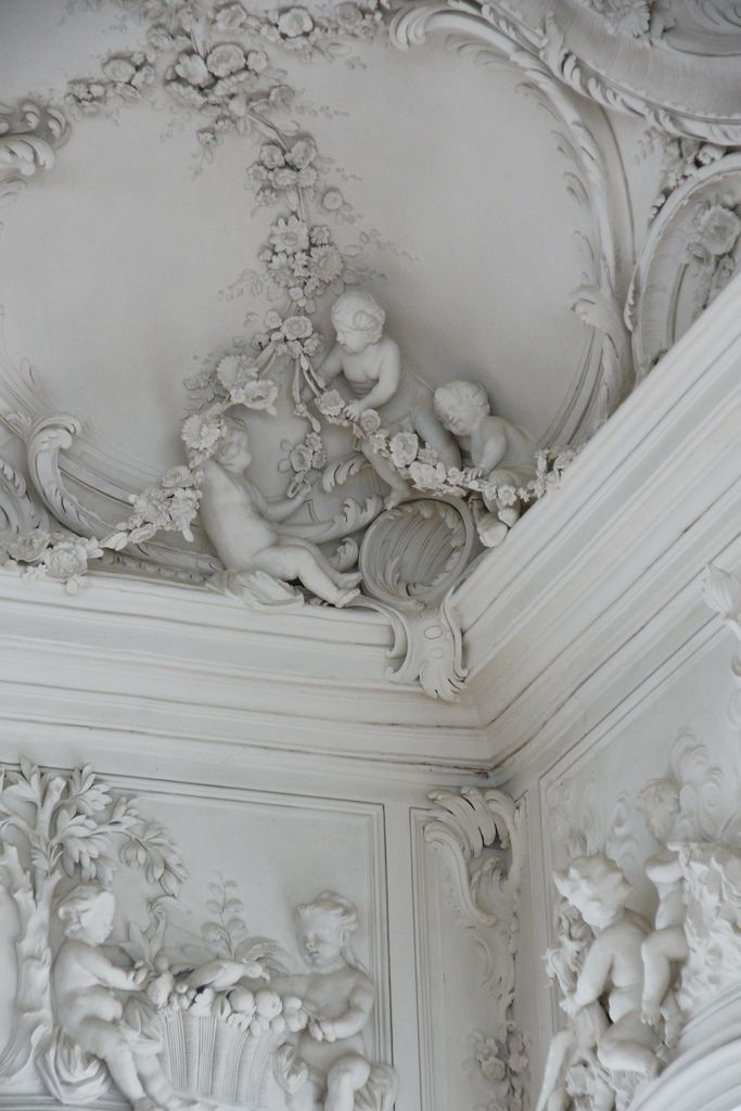 "Detail of ""White Hall"" in the Rundale Palace, built (1736-1740),Latvia..."