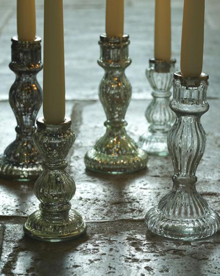 Fair Trade Antique Glass Candle Stick Small