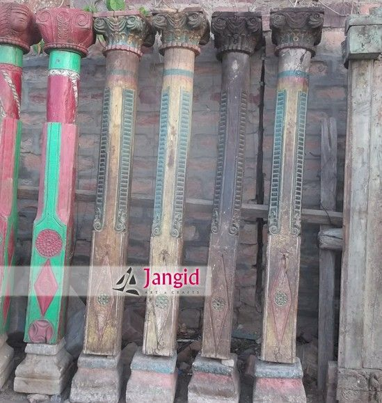 Solid Wooden India Vintgae Pillars & Stone Base, View Indian Old Wood Column Design, Indian Architectural Antiques Product Details from JANGID ART & CRAFTS on Alibaba.com