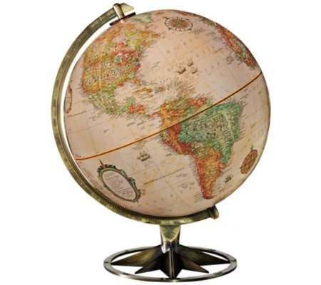 This stylish desk globe features a brass-plated base with compass rose design an...