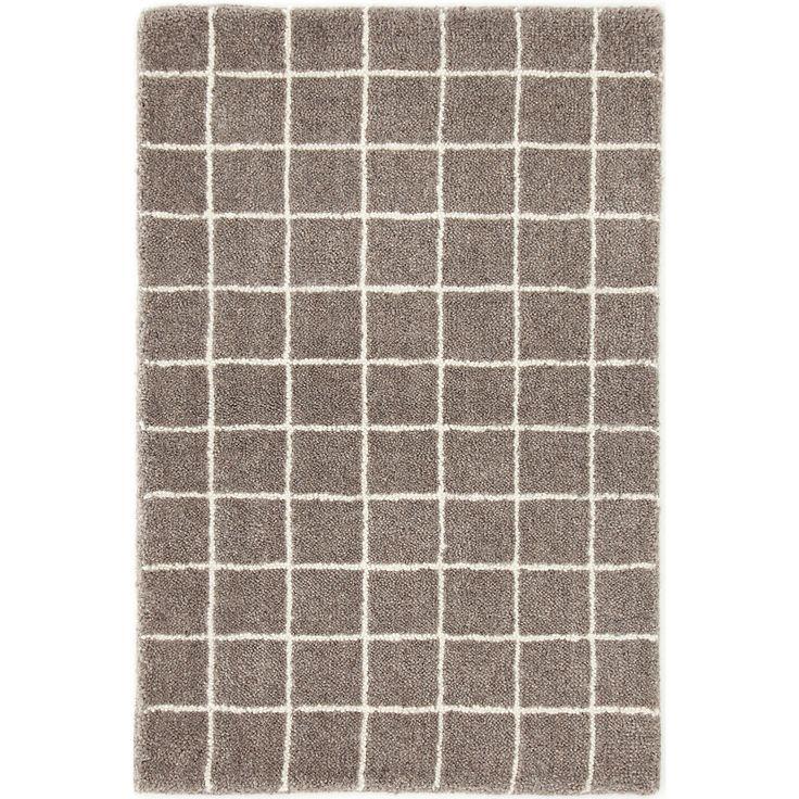 Grid Grey Wool Tufted Rug