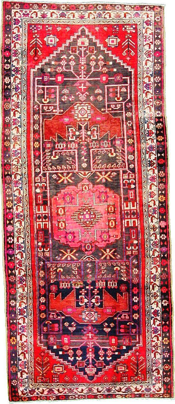 4' 4 x 10' 2 Navy Blue Hamedan Area Rug   Esale Rugs   Antique Persian R...