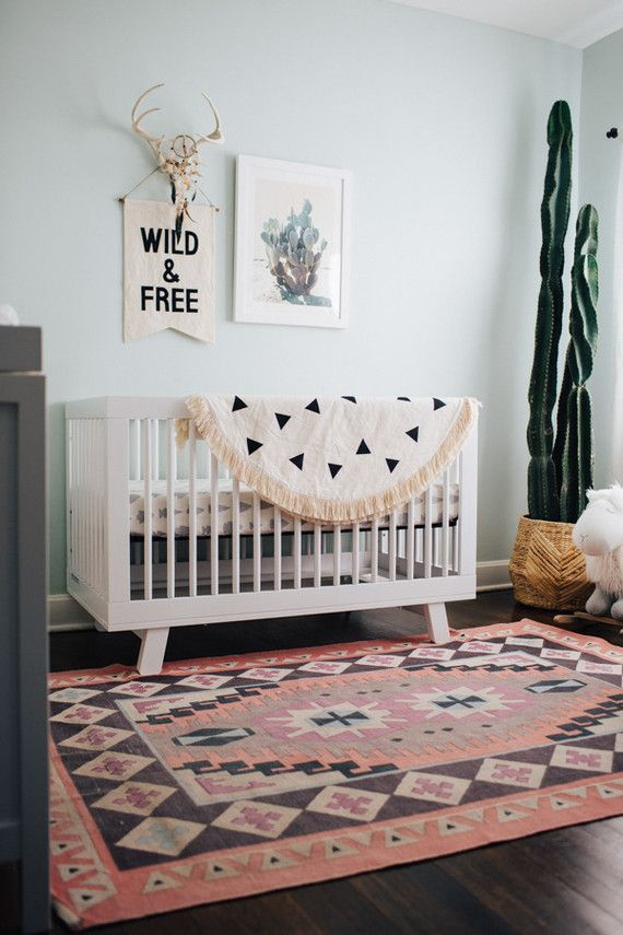 A South Western inspired nursery with cactus art by Wilder California for Minted...