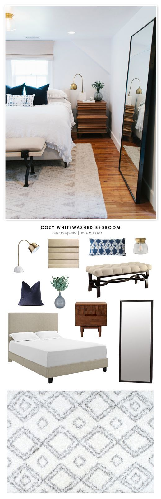 Copy Cat Chic Room Redo | Cozy Whitewashed Bedroom