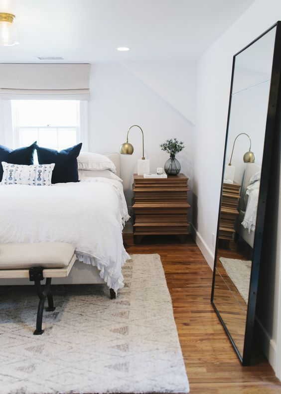 Rugs – Home Decor : Modern bedroom featuring chic bedding, bench ...
