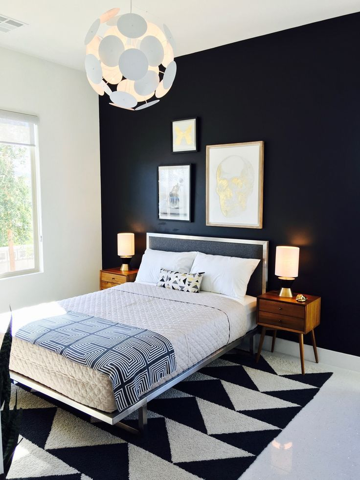 Rugs – Home Decor : Modern bedroom. Mid-Century Bedroom. Black and ...