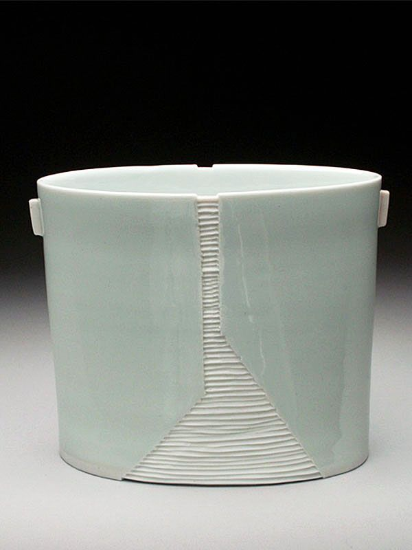 Bryan Hopkins Porcelain Carved Oval Bowl at MudFire Gallery