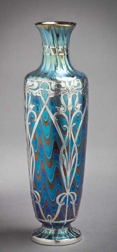 Galvanic Silver Overlay on Antique Art Glass - Bohemian  American