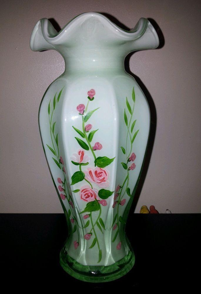Vases Home Decor Vintage Fenton Art Glass Handpainted Rose Green