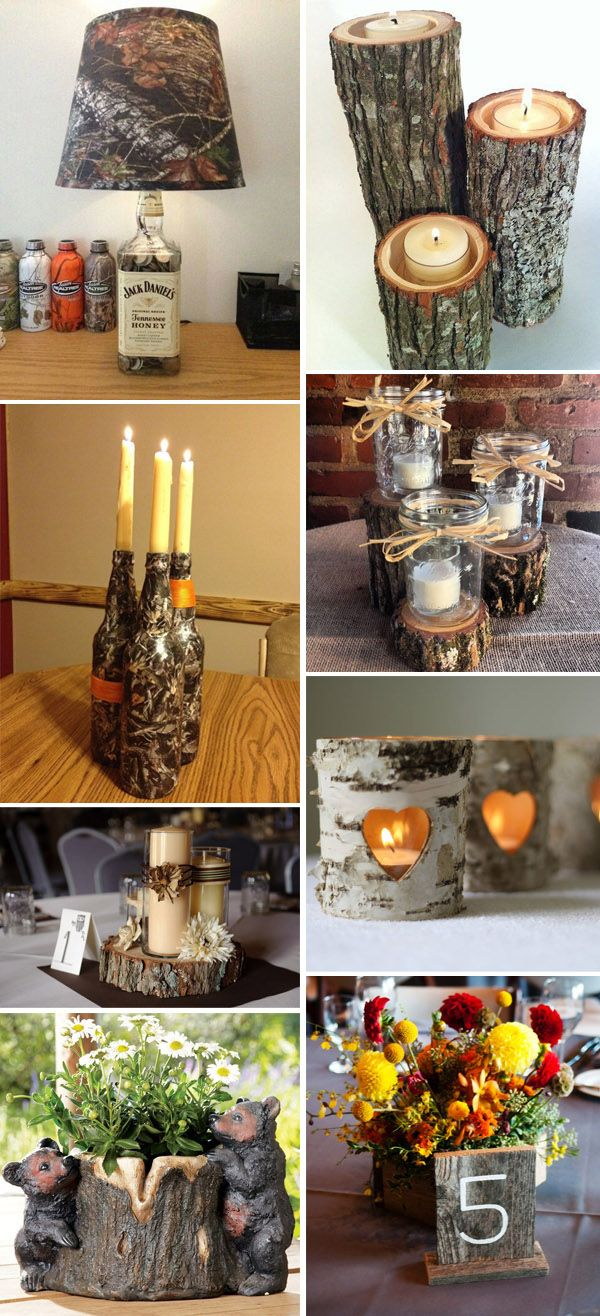 camo wedding centerpieces ideas with candles and stumps...