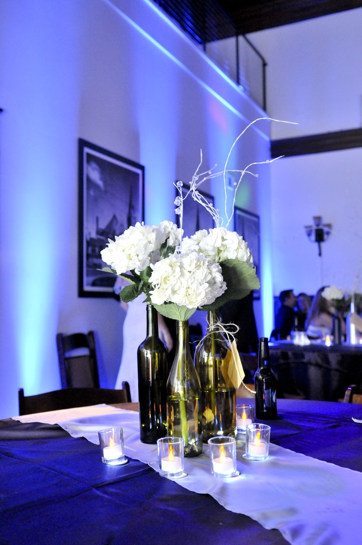 PartyZone! Productions - Wine bottle centerpieces with waterproof LED lighting i...
