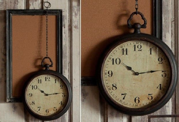 Hanging Metal Clock With Chain - From Antiquefarmhouse.com - www.antiquefarmho.....