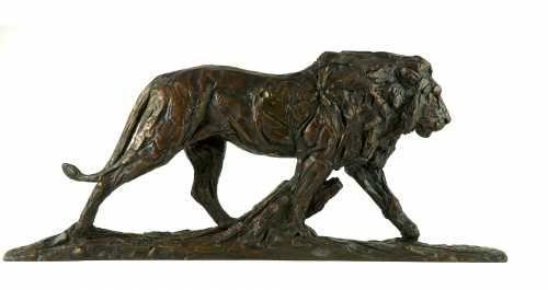 #Bronze #sculpture by #sculptor David Mayer titled: 'Lion (Little Striding bronz...
