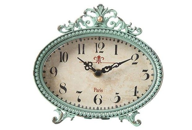 Metal Desk Clock - Antique Blue Finish - From Antiquefarmhouse.com - www.antique...