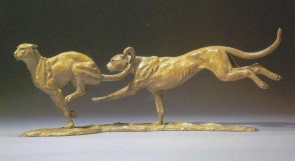 Bronze Cats Wild and Big Cats sculpture by artist Gill Parker titled: 'Cheet...