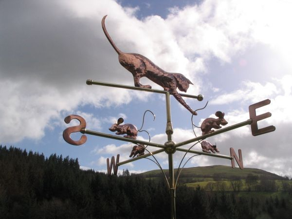 Copper and Brass #sculpture by #sculptor Stanley Jankowski titled: 'Cat and Mous...