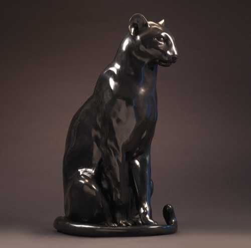 #Bronze #sculpture by #sculptor Nick Bibby titled: 'Black Panther (life size bro...