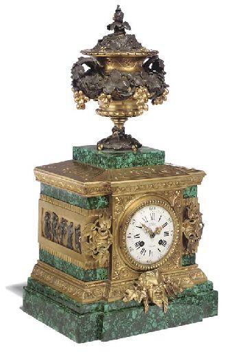 A NAPOLEON III ORMOLU, PATINATED BRONZE AND MALACHITE-VENEERED MANTEL CLOCK BY D...