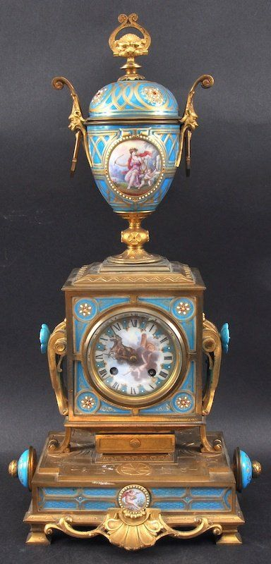 Antique clocks a superb 19th century french ormolu and blue sevres porcelain mantle clock - Antique clock designs for your home ...