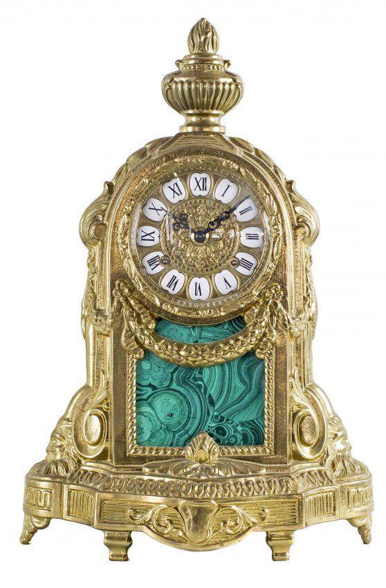 Antique clocks louis xvi style bronze and faux malachite mantle clock decor object your - Antique clock designs for your home ...