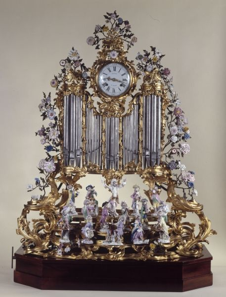 Organ pipe clock with a monkey orchestra - Jean Moisy (clockmaker) and Jean-Clau...
