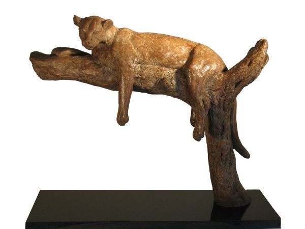 #Bronze #sculpture by #sculptor Camilla Le May titled: 'Leopard on Branch (Small...