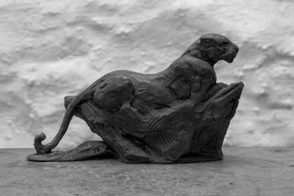 #Bronze #sculpture by #sculptor David Mayer titled: 'Leopard on rock (Small bron...