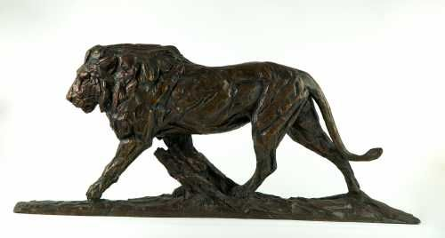 #Bronze #sculpture by #sculptor David Mayer titled: 'Lion (Little Striding bronz...