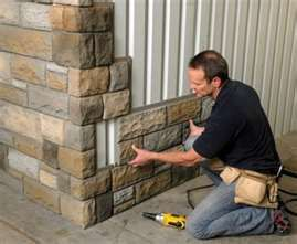 Faux stone. Easy to pop on the side of a house for an exterior change. Like an u...