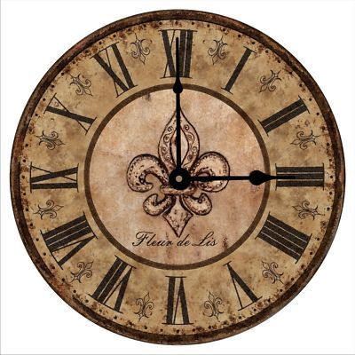 Clocks Decor Antique Tuscany Vintage Fleur De Lis Wall