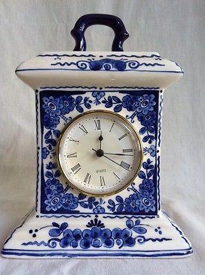 Clocks Decor Delft Blue Mantle Or Table Clock Hand