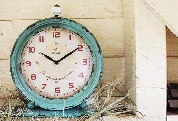 Charming French Metal Clock - From Antiquefarmhouse.com - www.antiquefarmho...