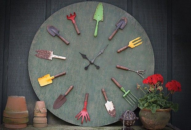 Clocks Decor Objects Garden Clock Garden Themed Clock