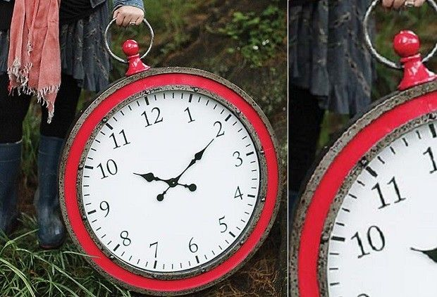 HUGE Metal Pocket Watch Wall Clock - This HUGE pocket watch wall clock is a colo...